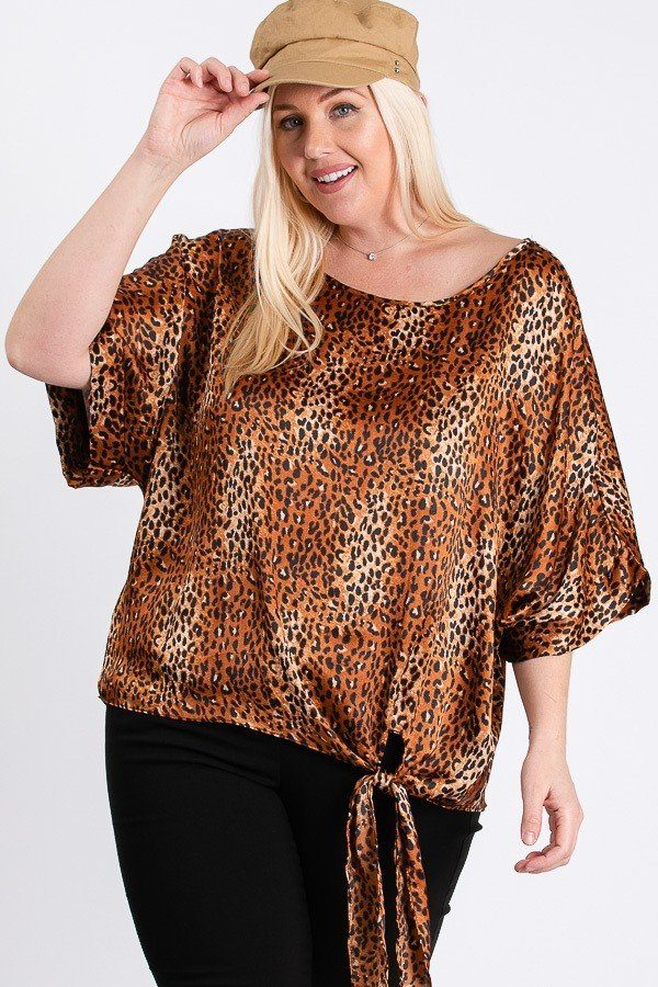 Plus Size Side Knot Hemline Leopard Print Top - J NILLY