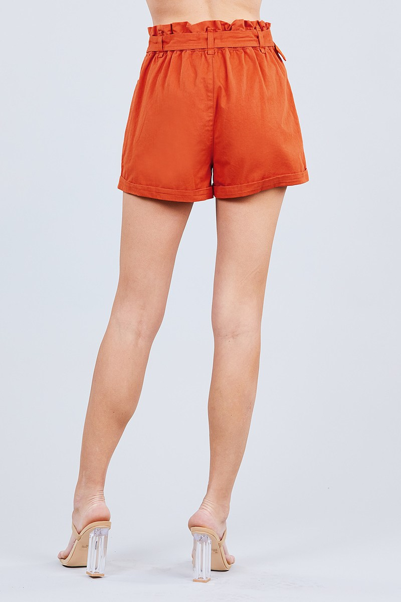 Side Pocket Rolled Up Paper Bag Cotton Short Pants - J NILLY