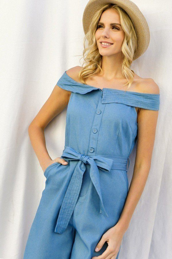 Fold-over Collar Detailed Button Down Off-shoulder Chambray Denim Wide Leg Palazzo Jumpsuit With Waist Tie - J NILLY
