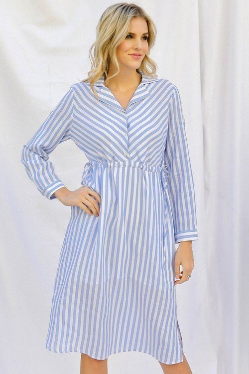 Stripe Print Cinched Waist Long Sleeve Shirt Midi Dress - J NILLY