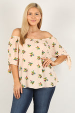 Plus Size Floral Print Off The Shoulder Top - J NILLY