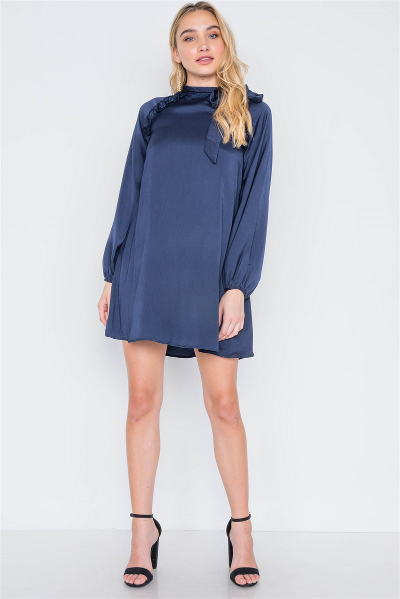 Satin Long Sleeve Side-tie Mini Dress - J NILLY