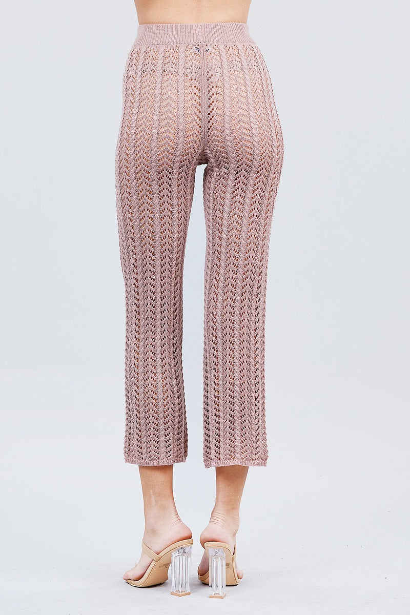 Flare Ribbed Fishnet Pants - J NILLY