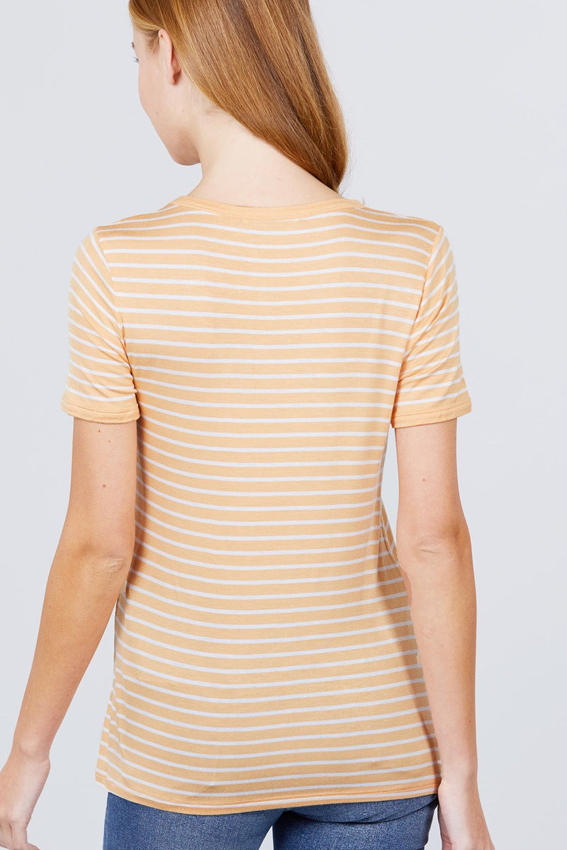 Short Sleeve Crew Neck Stripe Rayon Spandex Ringer Knit Top - J NILLY