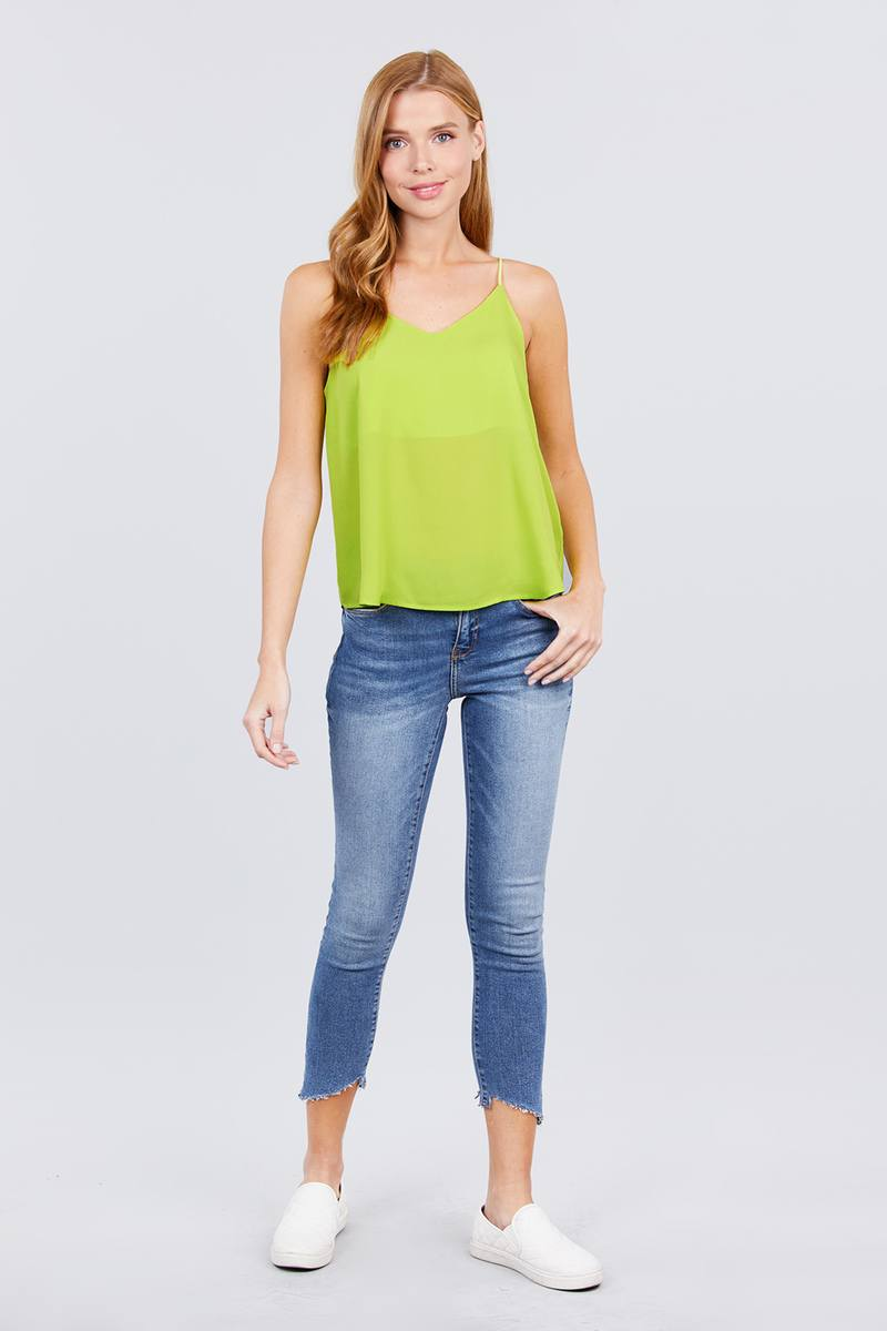 Double V-neck Cami Woven Top - J NILLY