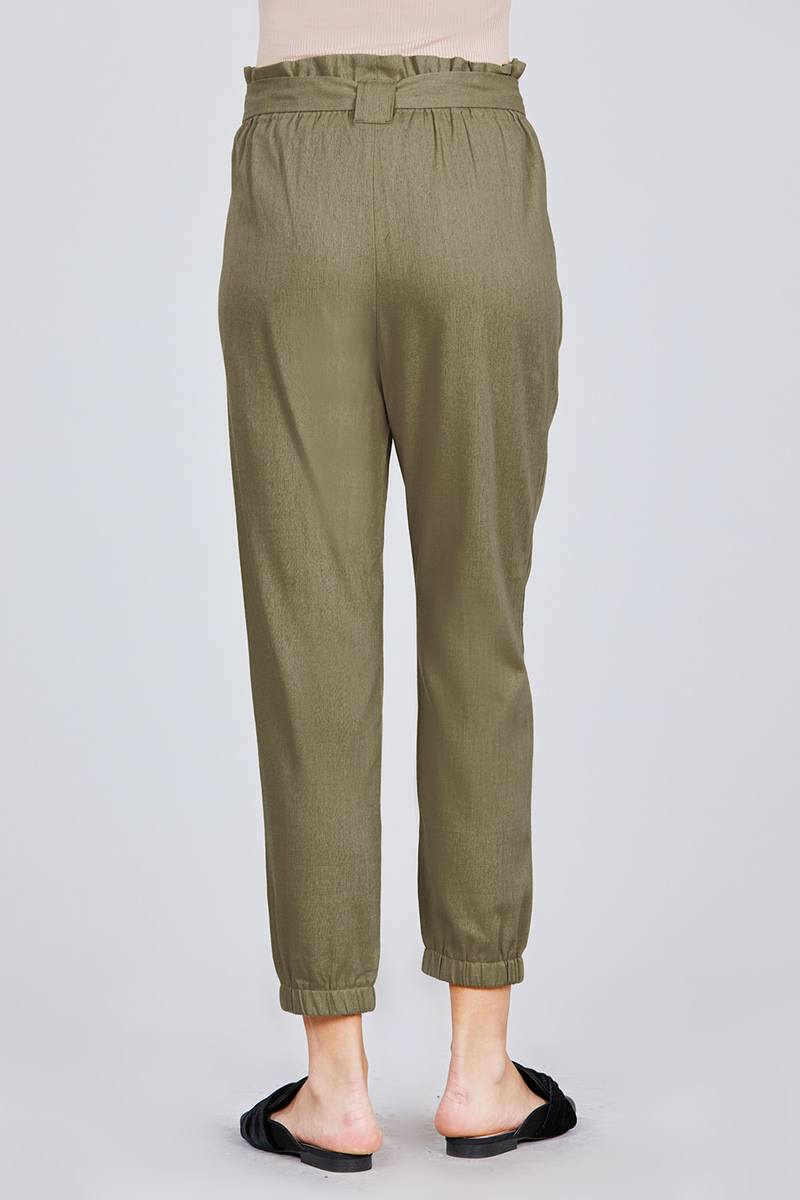 Paperbag W/bow Tie Elastic Hem Long Linen Pants - J NILLY