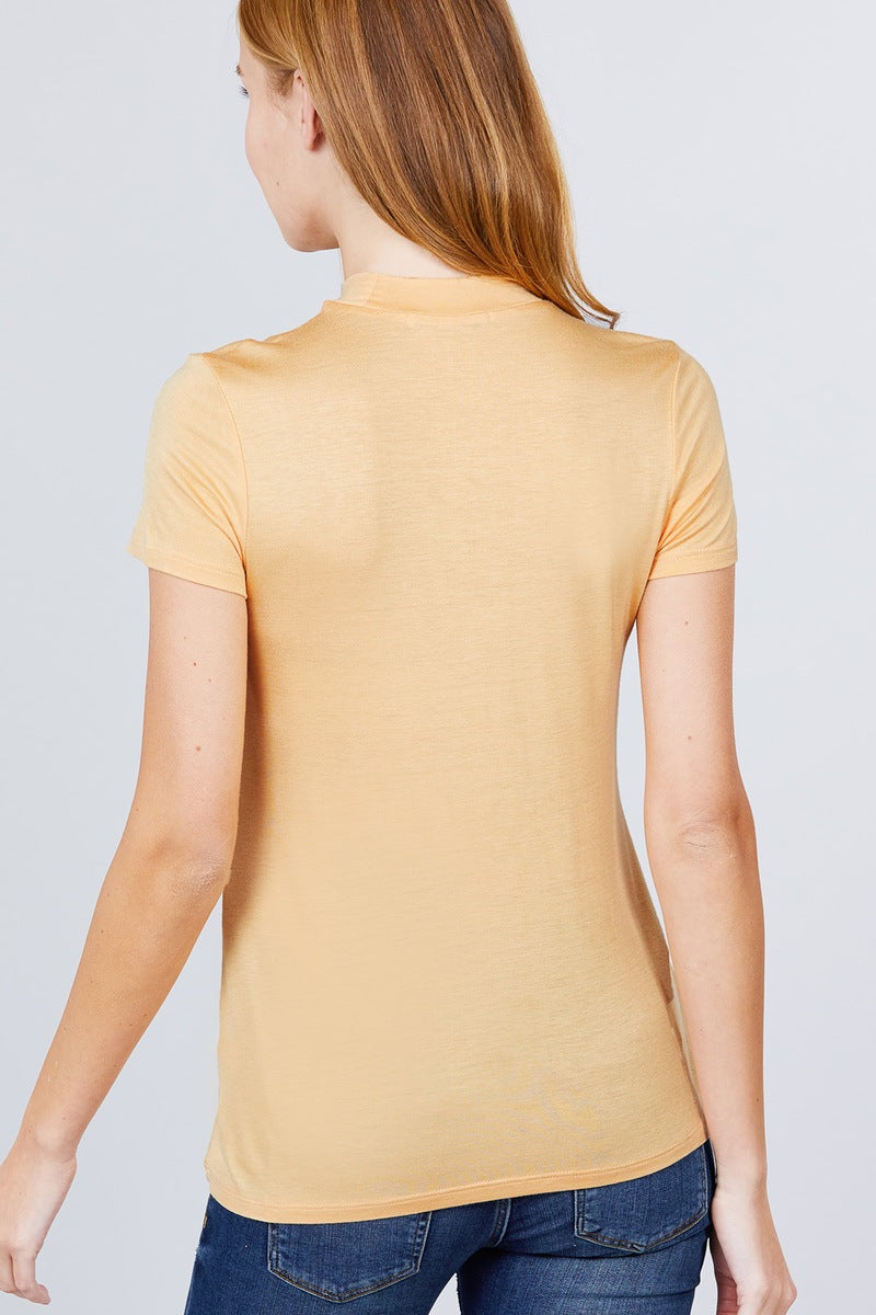 Short Sleeve Mock Neck Rayon Spandex Rib Top - J NILLY