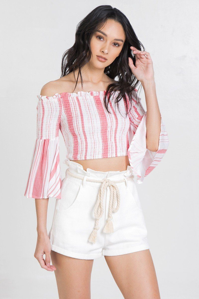 Striped Off-the-shoulder Gauze Crop Top - J NILLY