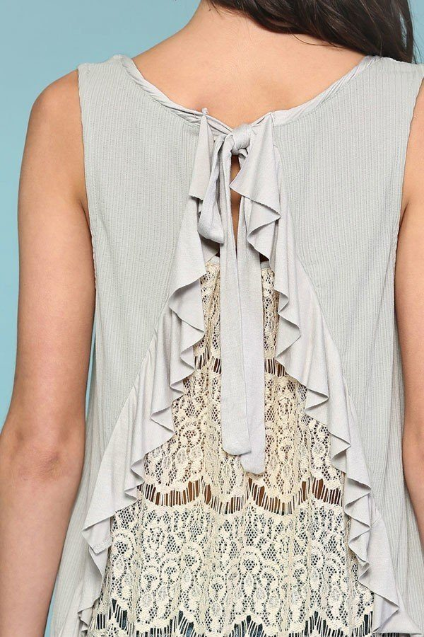 Sleeveless Back Lace Ruffle Detail Tank Top - J NILLY