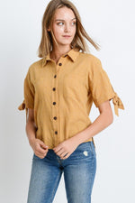 Short Sleeve Button Up Top With Tie Sleeve - J NILLY