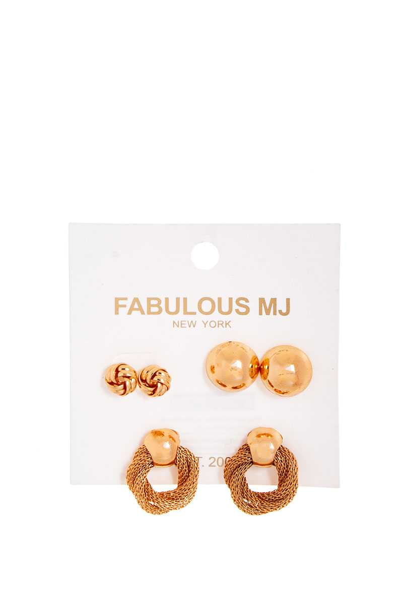 Fabulous 3 Pairs Modern Stud Earring Set - J NILLY