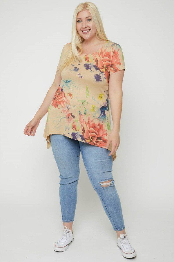 Plus Size Watercolor Flower Print Tunic - J NILLY