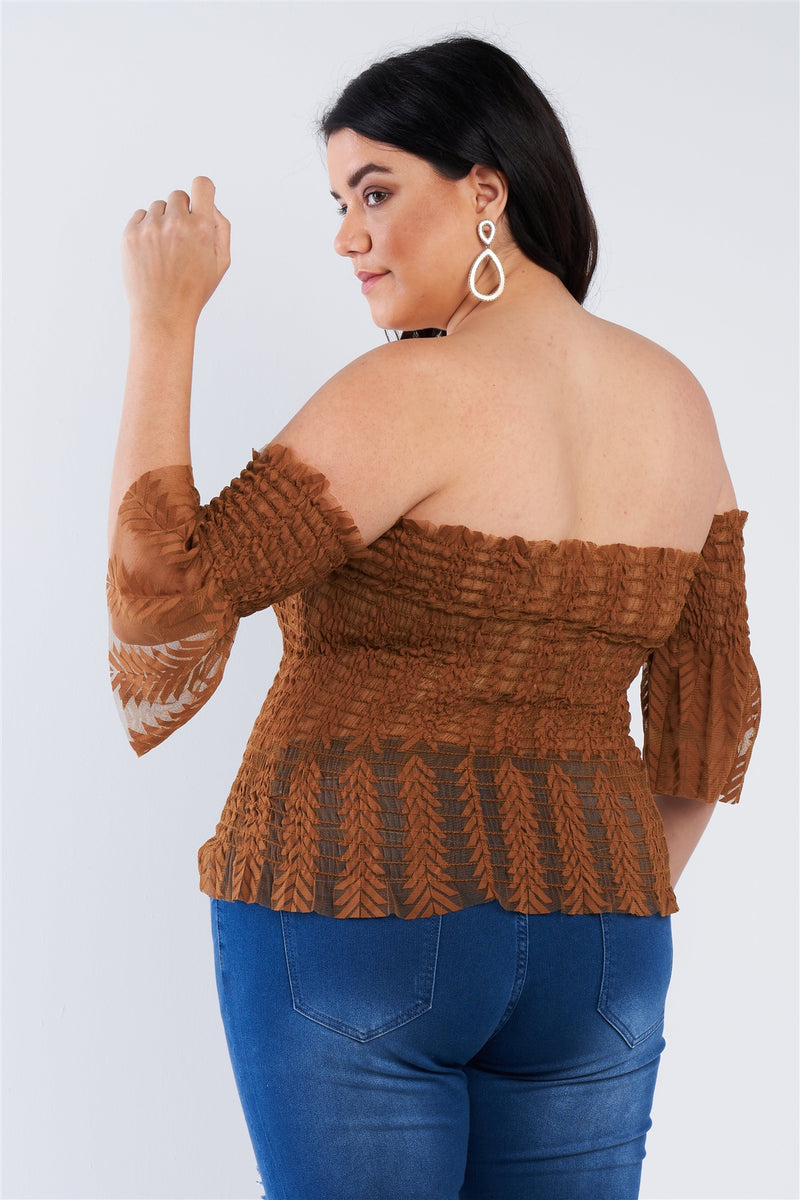 Plus Size Midi Sleeves Off The Shoulder Top - J NILLY