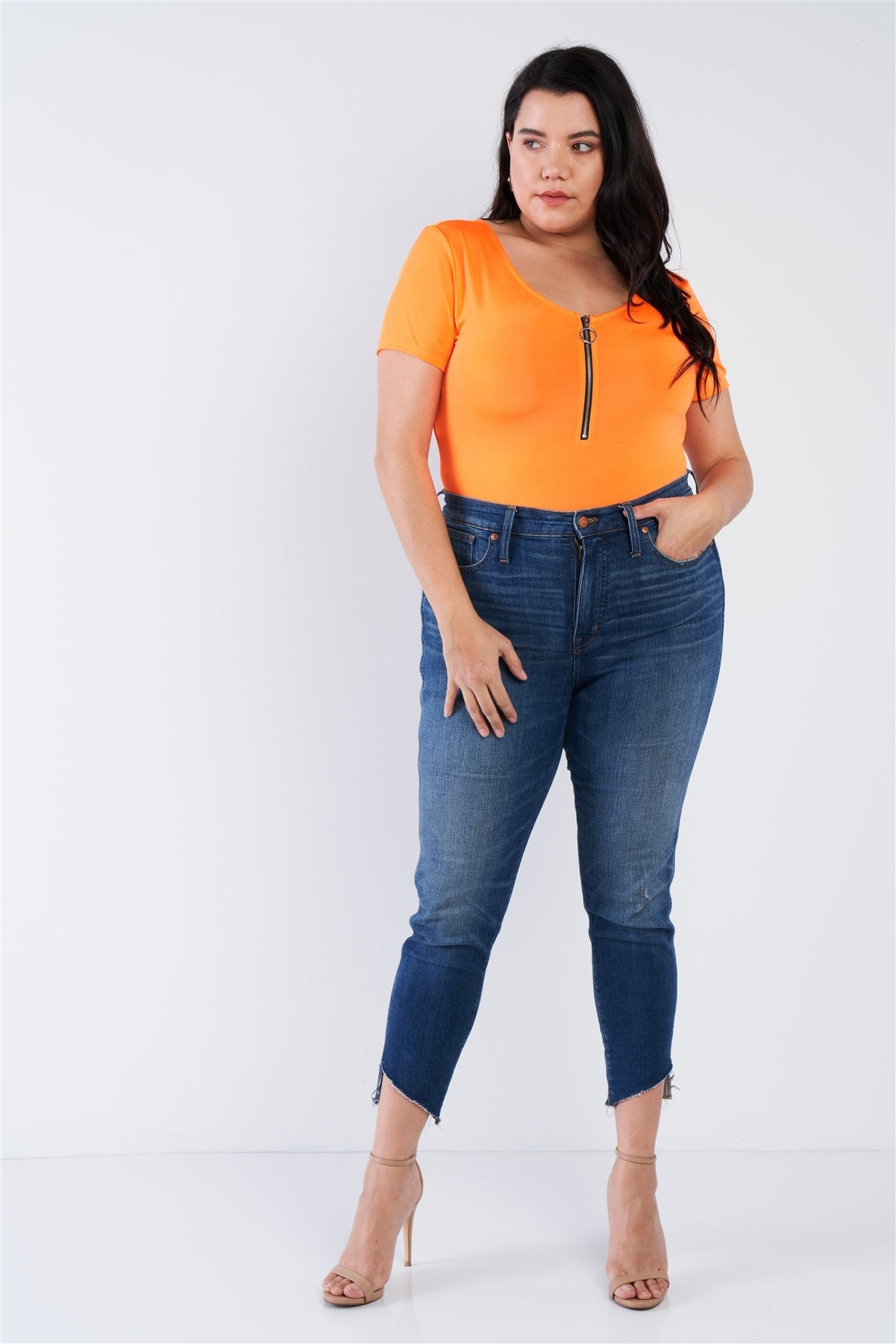 Plus Size Zipper Front Bodysuit - J NILLY