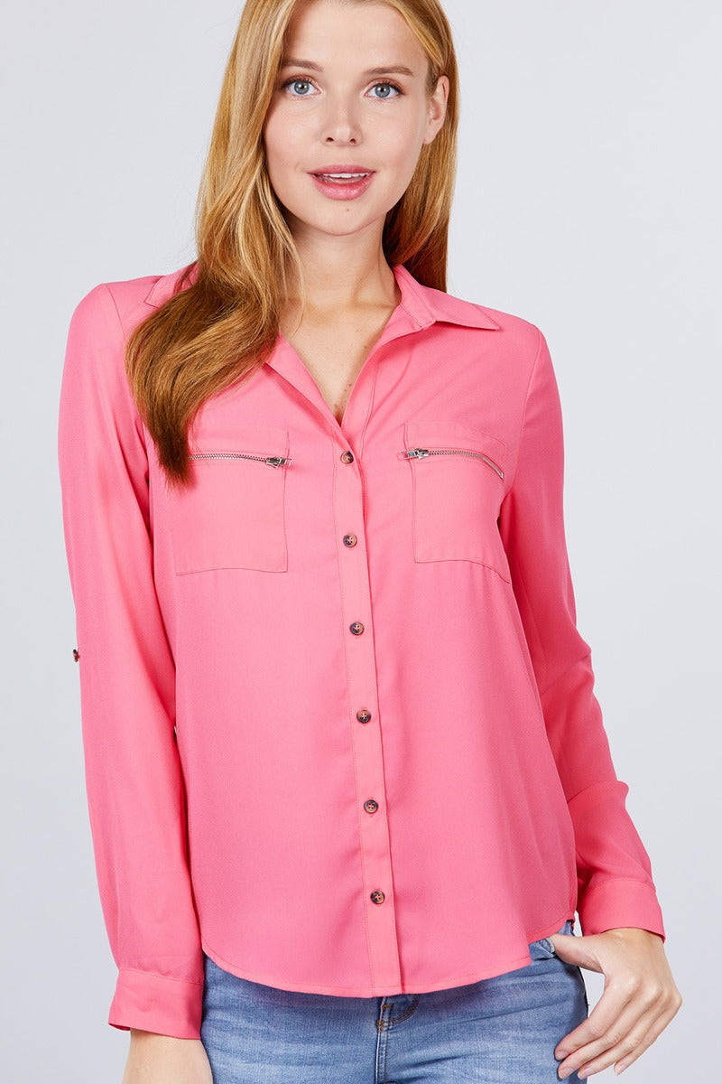 3/4 Roll Up Sleeve Pocket W/zipper Detail Woven Blouse - J NILLY