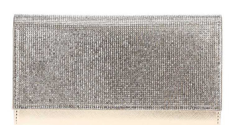 Stylish Multi Rhinestone Party Clutch With Chain - J NILLY