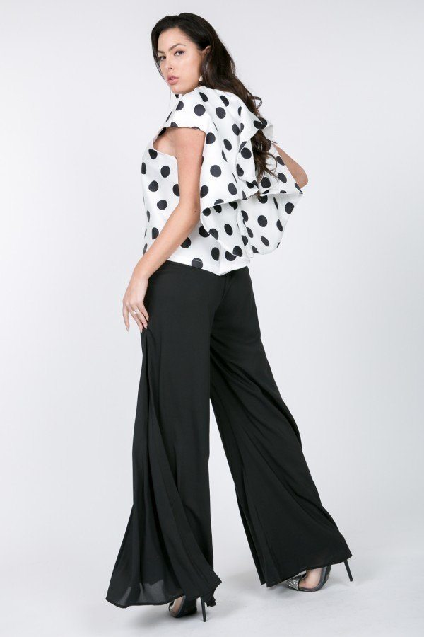 Cascade Ruffle Detail Polka Dot Print Top - J NILLY