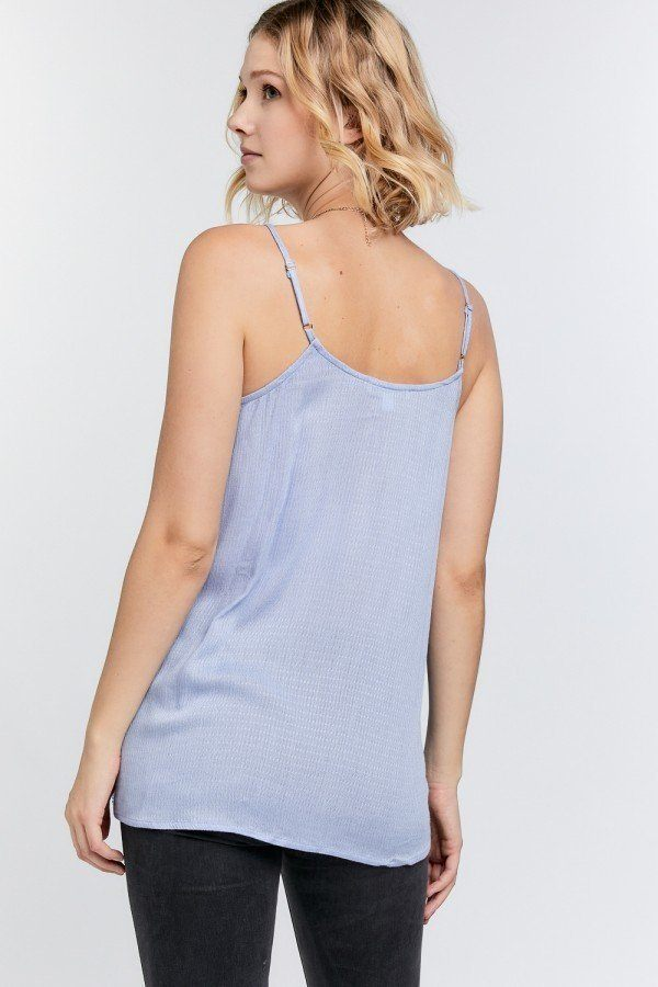 Boho Scallop Lace Trim Detailed Button Down Solid Subtle Textured Slit Side Overlay Layered Cami Top - J NILLY