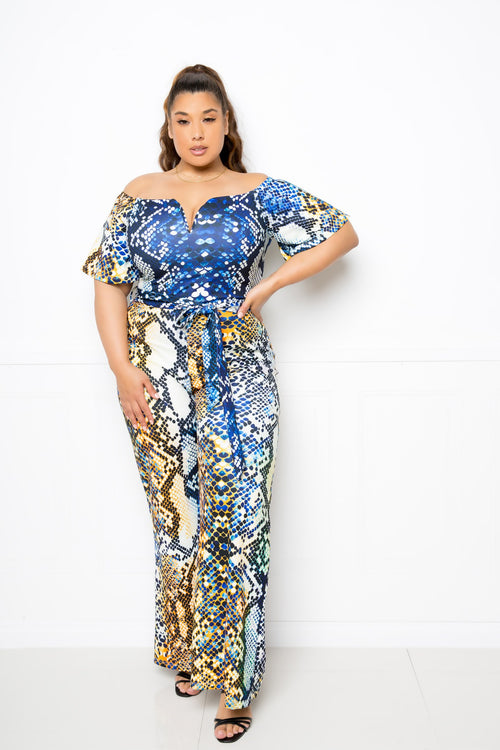 Plus Size Off The Shoulder Snake Jumpsuit - J NILLY
