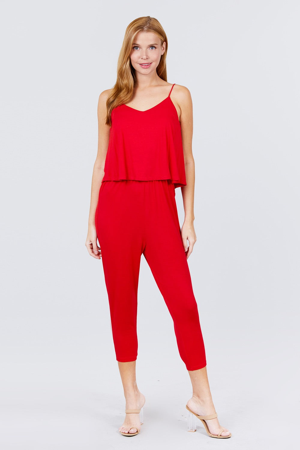 Cami Layered Top Capri Knit Jumpsuit - J NILLY