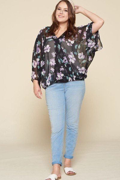 Plus Size Floral Chiffon Sheer Surplice Top - J NILLY