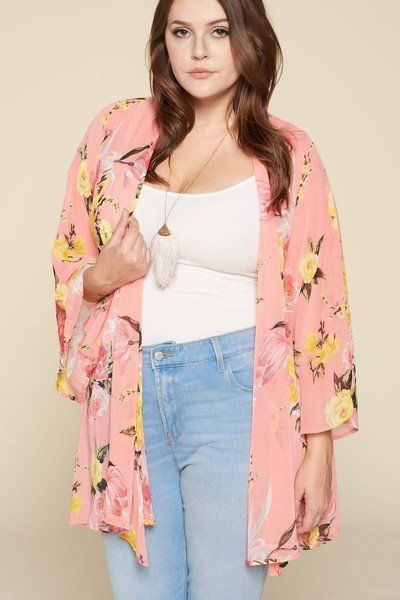 Plus Size Floral Printed Oversize Flowy And Airy Kimono With Dramatic Bell Sleeves - J NILLY