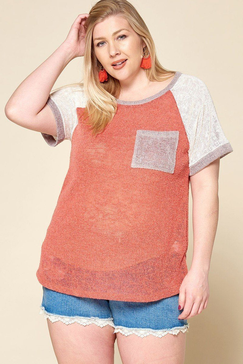 Plus Size Color-blocked Sweater Knit Top - J NILLY