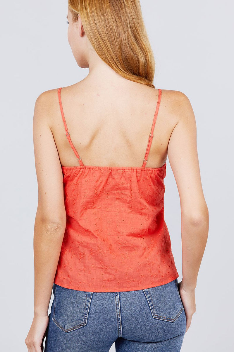 V-neck w/front bow tie eyelet woven cami top - J NILLY