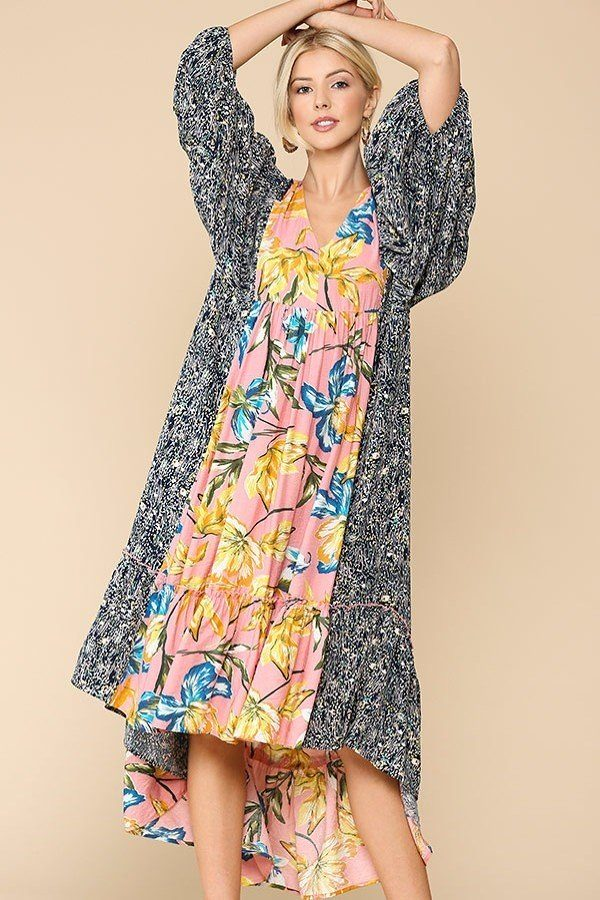 Floral Print Mid Sleeve Ruffled Dress - J NILLY