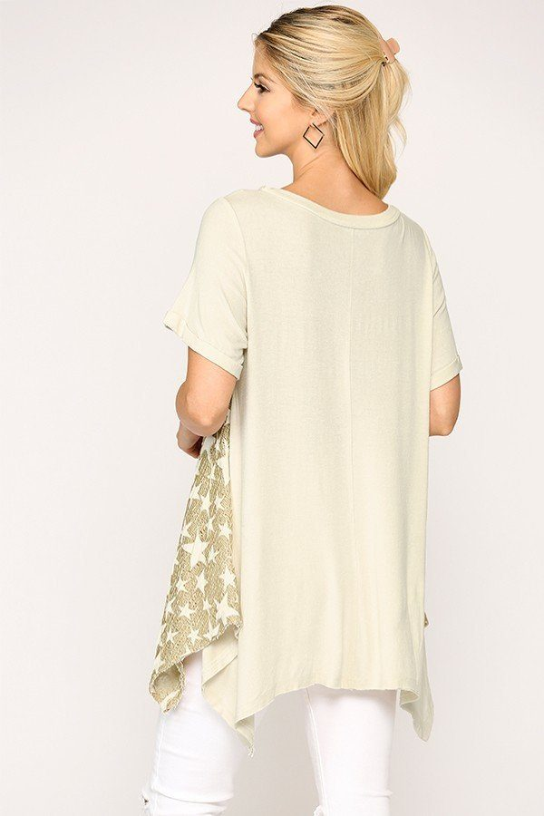 Star Textured Knit Mixed Tunic Top With Shark Bite Hem - J NILLY