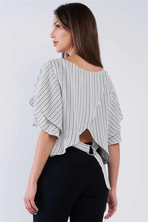 White Black Striped Ruffled Sleeve Backless Belted Blouse Top - J NILLY
