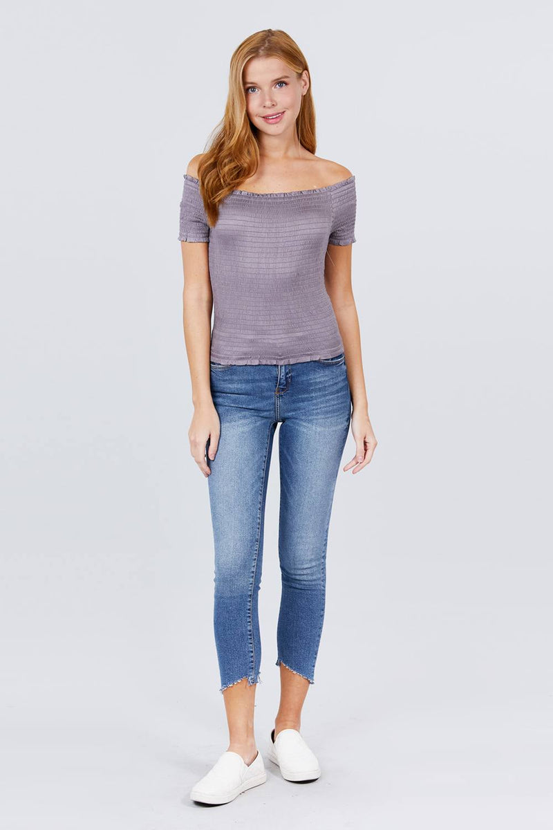 Short Sleeve Off The Shoulder Smocked Rayon Spandex Top - J NILLY