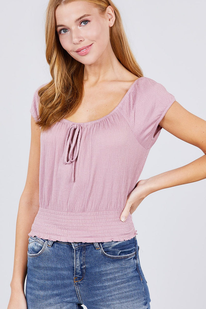 Short Puff Sleeve Front Tie Detail Smocked Waist Knit Gauze Top - J NILLY