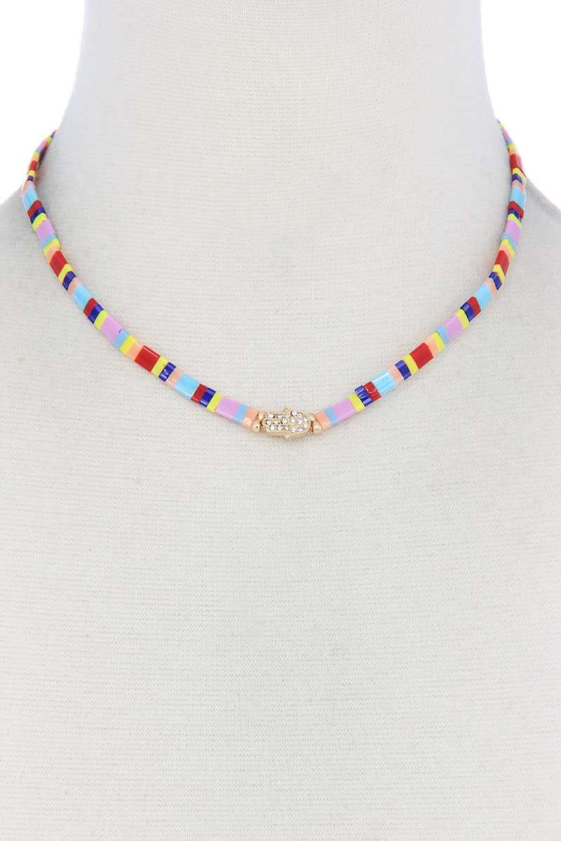 Color Block Hamsa Hand Charm Necklace - J NILLY