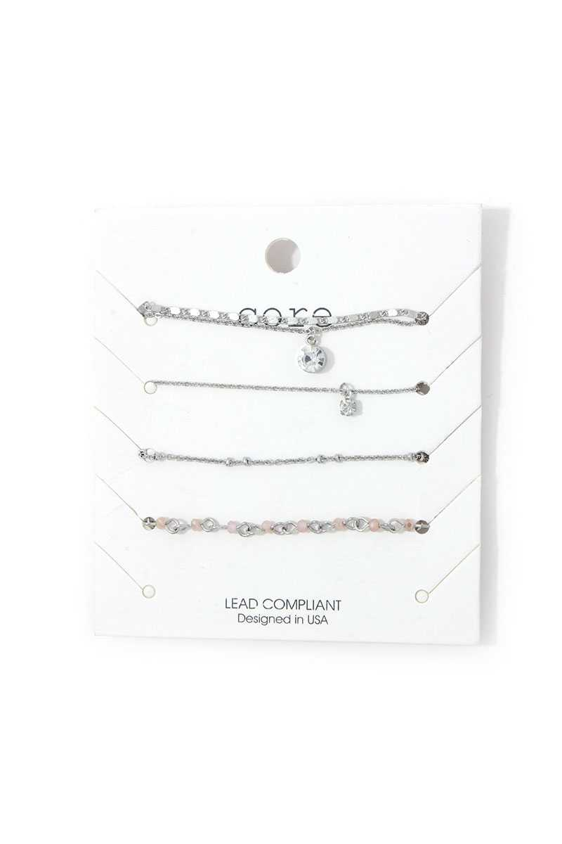 Rhinestone Metal Bracelet Set - J NILLY