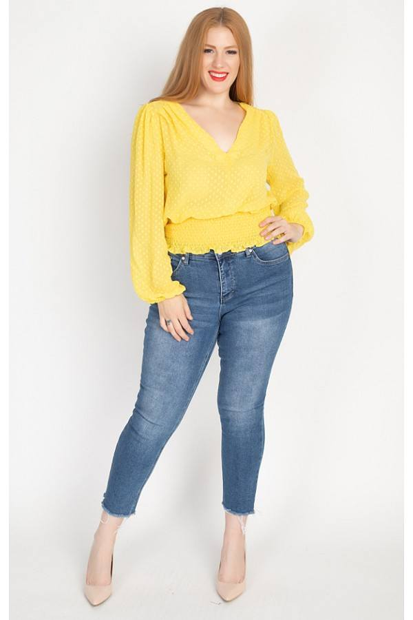Plus Size Smocked Waist V Neck Blouse - J NILLY