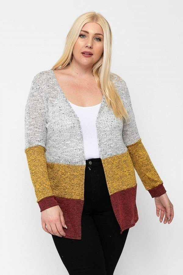 Plus Size Color Block Lightweight Cardigan - J NILLY