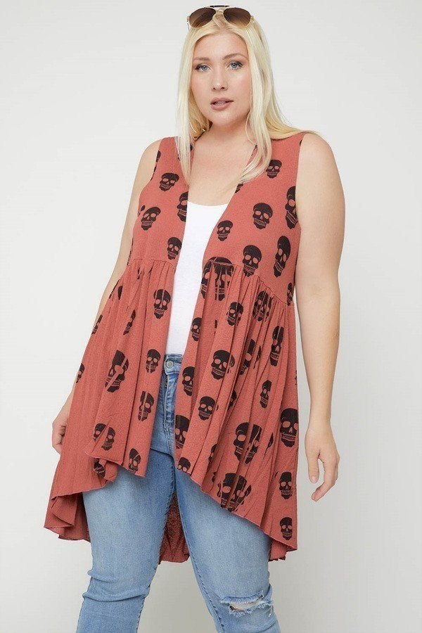 Plus Size Sleeveless Long Flattering Silhouette Cardigan - J NILLY