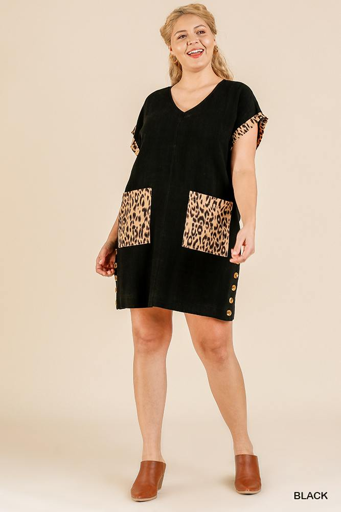 Animal Print Short Folded Sleeve V-neck Dress With Side Buttons And Front Pockets - J NILLY