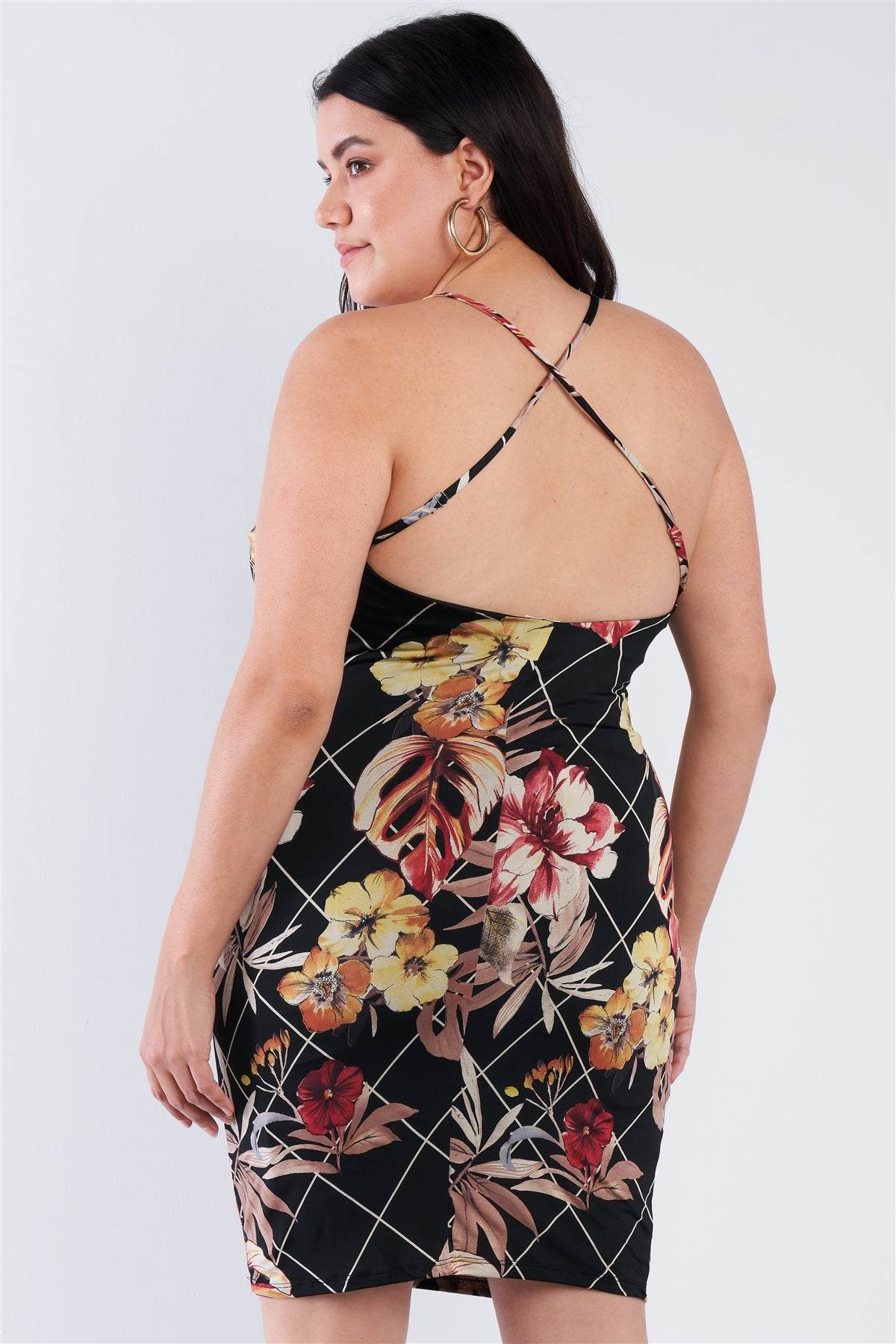 Plus Size Criss-cross Open Back Mini Floral Print Dress - J NILLY