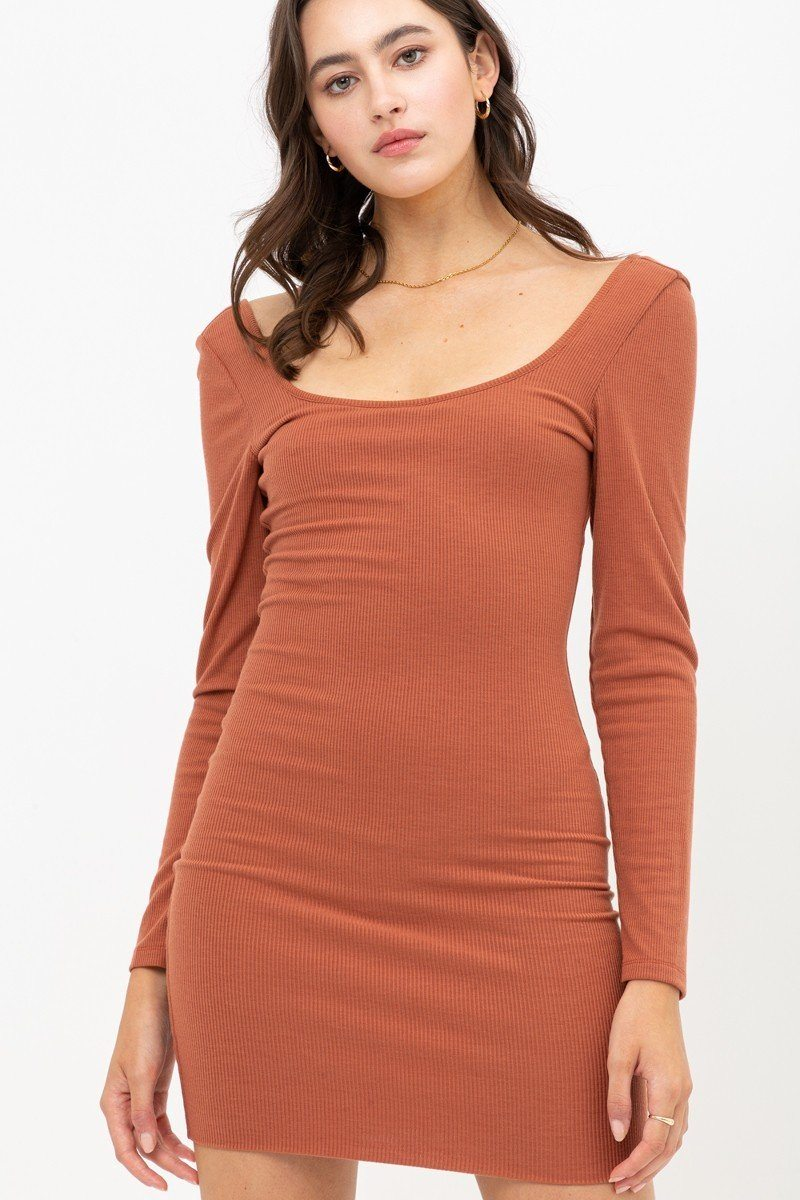 U Neck Of Front And Back Side, Basic Rib Dress With Long Sleeve - J NILLY