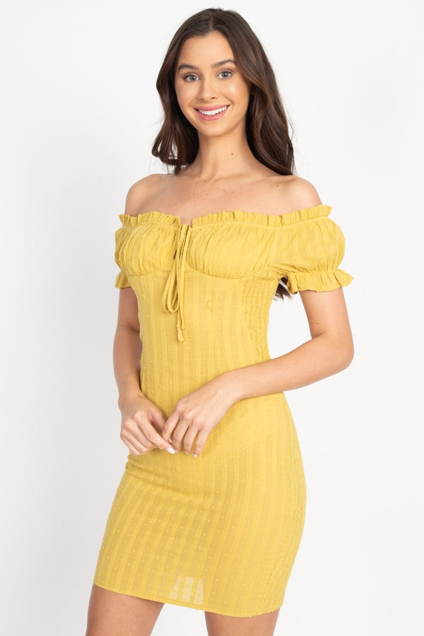 Off Shoulder Smocked Dress - J NILLY