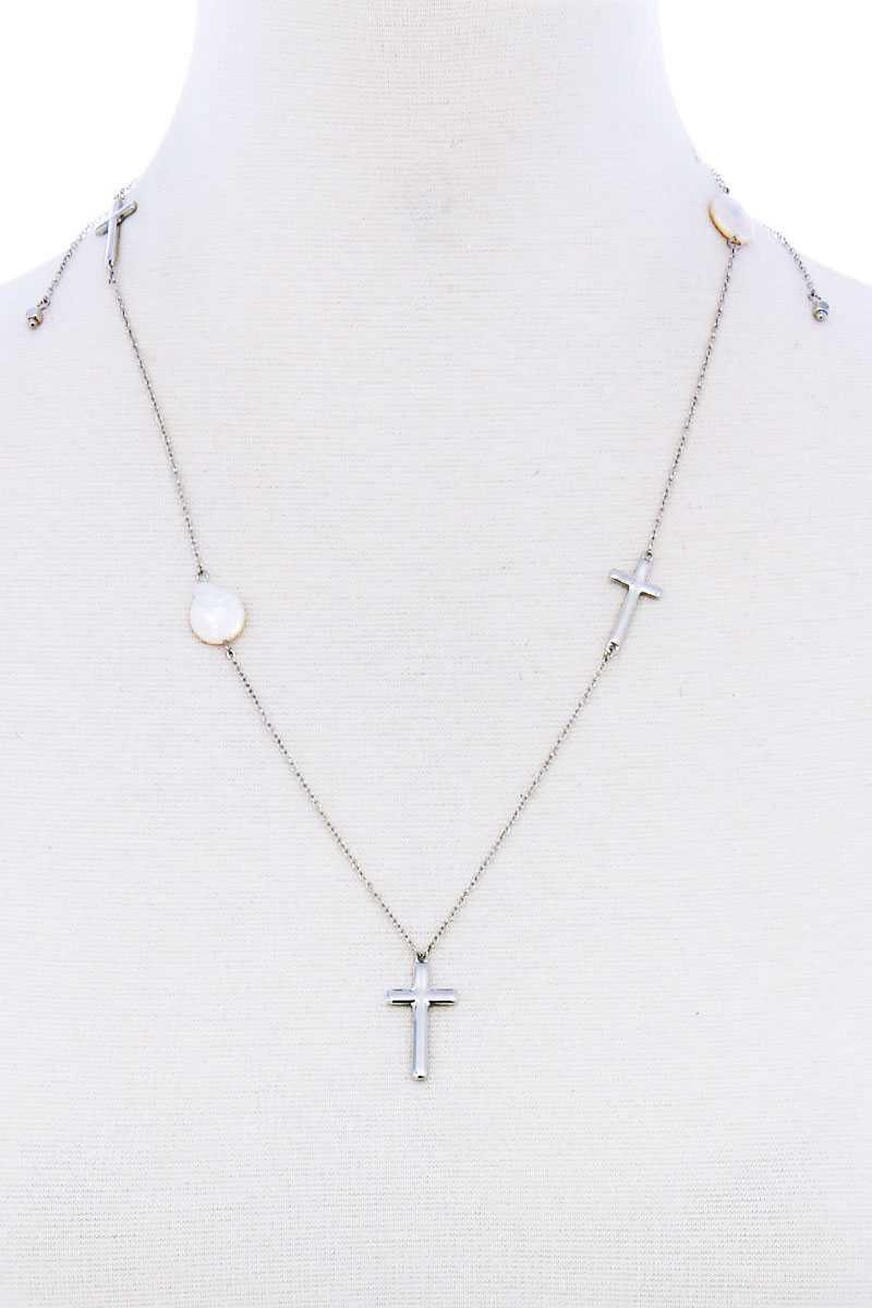 Triple Cross And Pearl Pendant Endless Necklace - J NILLY