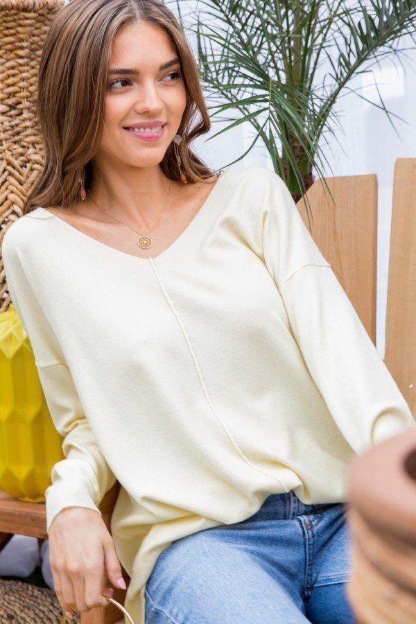 V Neck 3/4 Sleeve Side Slit Hi-lo Sweater - J NILLY