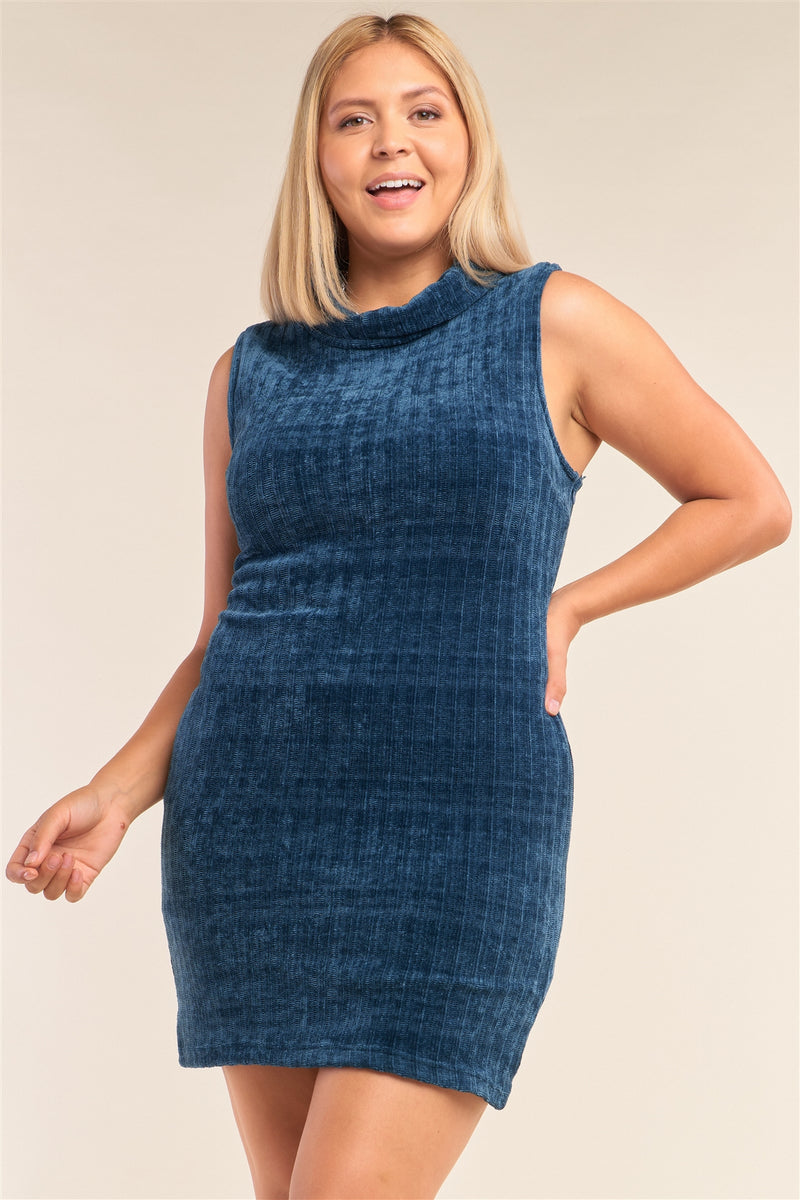Plus Size Sleeveless Ribbed Knit Semi-turtleneck Mini Dress - J NILLY