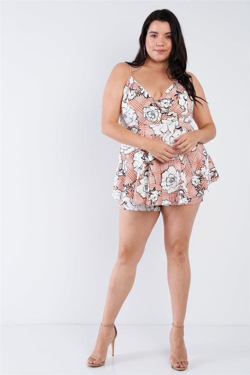Plus Size Floral Short Skort Mini V-neck Romper - J NILLY