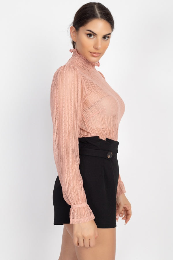 Ruffle Mock Neck Lace Top - J NILLY