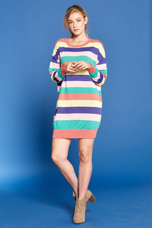 Multicolored Striped Knit Sweater Dress - J NILLY