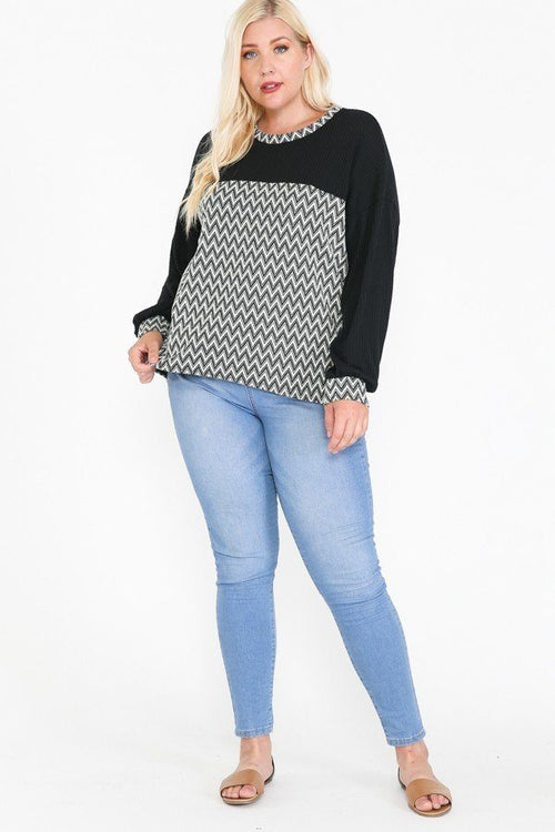 Jacquard Contrast With Drop Shoulder Long Sleeve Round Hem Top - J NILLY
