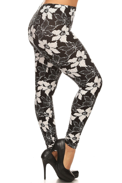 Plus Size Floral Pattern Printed Knit Legging With Elastic Waistband - J NILLY